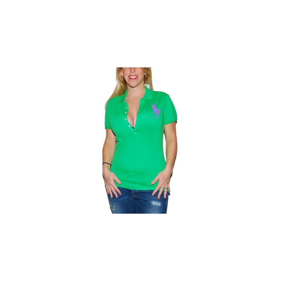 Ralph Lauren Women Big Pony Beaded Rhinestone Shirt Top Green Purple Medium