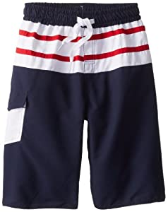 Wes & Willy Boys 8-20 Inset Striped Swim Trunk by Wes & Willy