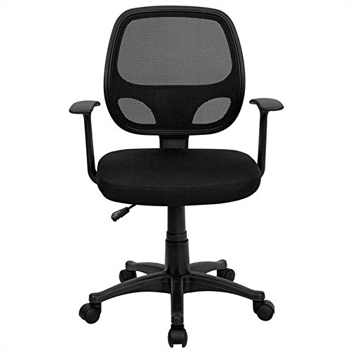 MidBack Black Mesh Swivel Task Chair Arm Swivel Office