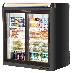 Black True GDM-9 Two Section Countertop Glass Door Merchandiser Refrigerator, Slide Door - 9 Cubic F