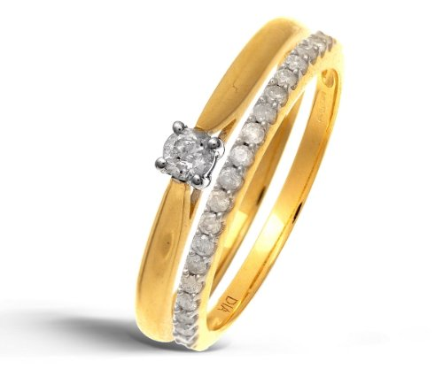 9ct Yellow Gold 0.25ct Diamond Bridal Set Ring