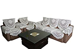 Thefancymart set of 16 pieces reversble Polyester crosia sofa set cloth in off white color( free size) -38