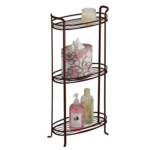 mDesign Free Standing Bathroom Storage Shelves for Towels, Soap, Candles, Tissues, Lotion, Accessories - 3 Tiers, XL, Bronze (Bronze Bathroom Storage compare prices)