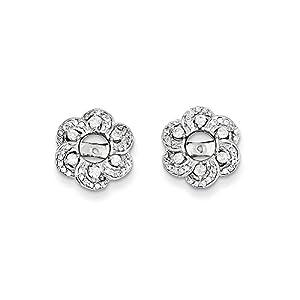Christmas Sale -14K White Gold Diamond Flower Earring Jacket - Excellent Gift
