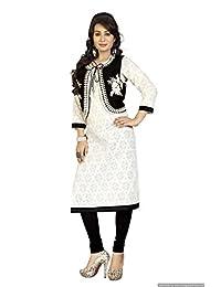 Women's Straight Resham Work Semi Party Wear Off White Colour Short Jacket Kurtas/Kurtis 5076