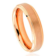 buy 6Mm - Man Or Ladies - Tungsten Carbide Rose Gold Plated Stepped Edge Brushed Center Wedding Band Ring