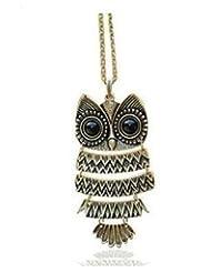 JDX Long Chain Owl Pendant Necklace For Women
