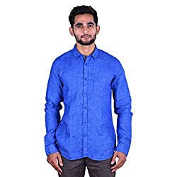 CORTOS Blue Linen Other Regular fit casual Solid Shirt (Size: Large)