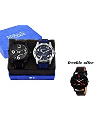 COMBO OF 2 GIFTS ITEM MEN'S ANALOG WATCH WITH ONE FREEBIE ANALOG WATCH
