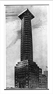 Historic Print (L): Competition drawing by Adolf Loos for the Chicago Tribune Tower