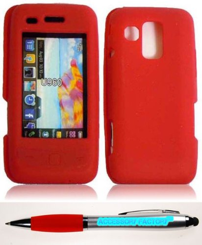 Accessory Factory(Tm) Bundle (The Item, 2In1 Stylus Point Pen) For Samsung Rogue U960 Silicone Skin Cover Case - Red Soft Jelly Rubber Phone Protector
