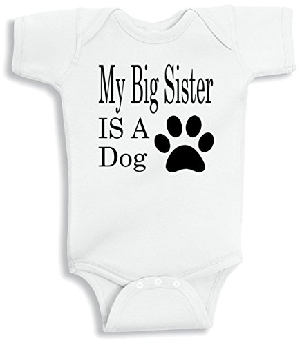 Lil Shirts My Big Sister Is A Dog Baby Bodysuit (0-3 Months) (Dog Big Sister Shirt compare prices)