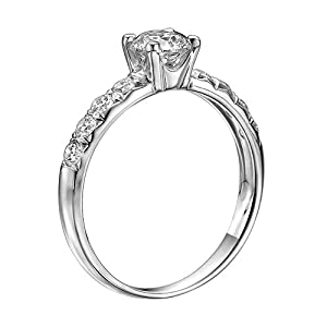 GIA Certified 14k white-gold Round Cut Diamond Engagement Ring (1.10 cttw, F Color, VS2 Clarity)