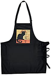 3dRose apr_24933_2 Cats Le Chat Noir-Medium Length Apron with Pouch Pockets, 22 by 24-Inch