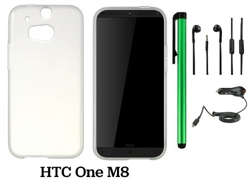 Htc One (M8) Solid Plain Color Tpu Protector Back Cover Case (2014 Q1 Released; Carrier: Verizon, At&T, T-Mobile, Sprint) + Car Charger + 3.5Mm Stereo Earphones + 1 Of New Assorted Color Metal Stylus Touch Screen Pen (Frosted White/Clear)