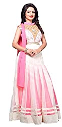 Home Deal New Lauanch Pink And White Chudidar Net Embroiedred Readymade Dress Material