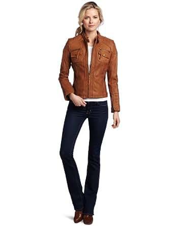 MICHAEL Michael Kors Women's Zip Front Leather Jacket