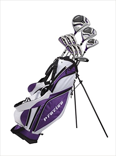 "Custom made Ladies Tall Complete Right Hand Golf Club set for Women 5'6"" to 6'0"" Tall Includes Driver, Wood, Hybrid, Stainless Irons, Putter, Stand Bag Purple"