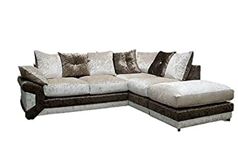 Blink Right Hand Corner Sofa, Fabric, Brown/Beige