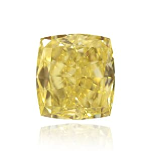 Yellow Loose Diamond Cushion Cut Natural Fancy Color GIA Cert 3.51 Carat VS1