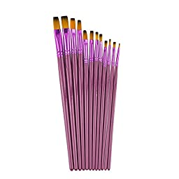 Sorobright 12pcs Flat Head Nylon Hair Art Brush Set for Artist Watercolor Acrylic Oil Painting, Professional Paint Brushes Supplies, Purple