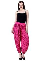 NumBrave Printed Viscose Dark Pink Harem Pants