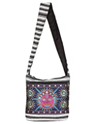 Rajrang Women's Camel Printed Canvas Patch Work Navy Blue Sling Bag