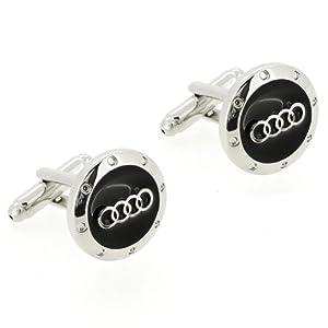 Black and Silver Audi Logo Automotive Car Cufflinks by Fantasyard