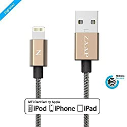 ZAAP®(USA) UNBREAKABLE LIGHTNING CABLE/CHARGER CORD FOR CHARGING , SYNC. COMPATIBLE WITH IPHONE, IPOD AND IPAD. 3 Feet / 1 Meter long [APPLE MFI CERTIFIED, GOLD ]. METALLIC-NYLON BRAIDED TANGLE FREE PREMIUM QUALITY{Award Winning Design},INDESTRUCTIBLE & 10,000+ BENDS LIFE SPAN
