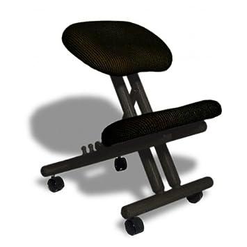 ergonomicher stuhl orthop discher kniestuhl computerstuhl kniehocker stoff schwarz farbe dc655. Black Bedroom Furniture Sets. Home Design Ideas