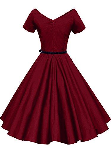 ILover Women 1950s V-Neck Vintage Rockabilly Swing Evening Party Dress (WineRed, X-Large)