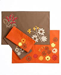 "Martha Stewart Collection Petals and Leaves Applique Napkin, 21"" X 21"" Brown - Set of 4"
