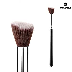SONGQEE(TM) Professional Cosmetic Brush Face/Eye Makeup Blusher Powder Foundation Tool Small Angled Flat Wood+Aluminum by SONGQEE(TM)