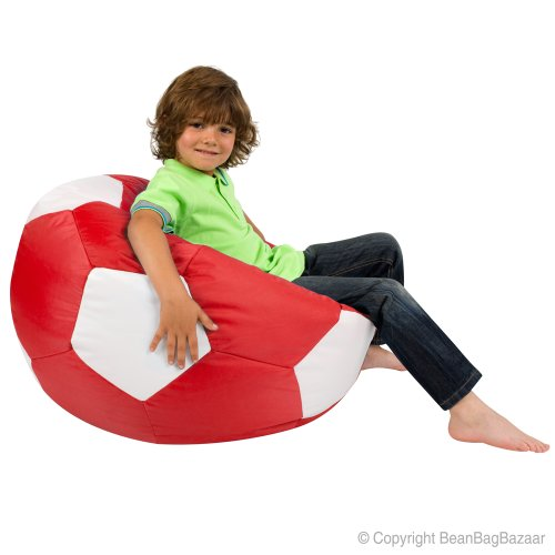 Kids Football Bean Bag Chair - Quality Indoor Outdoor Red & White Bean Bags