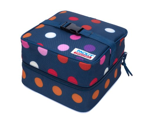 PackIt Freezable Salad Cooler Bag with Zip Closure, Dots - 1