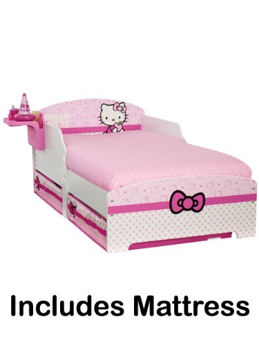 Hello Kitty Toddler Bed With Storage & Bedside Shelf Plus Fully Sprung Mattress