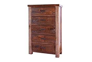 Rustic Style 5 Drawer Bedroom Chest of Drawers Rustic Highboy Dresser