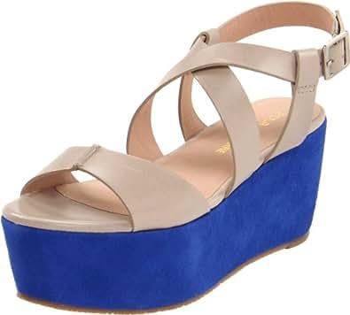 Pour La Victoire Women's Noele Platform Sandal, Taupe/Blue, 6 M US
