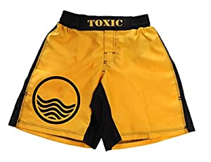 Toxic Surfwear - Short de bain/plage motif panneau « attention vagues » - jaune - XL