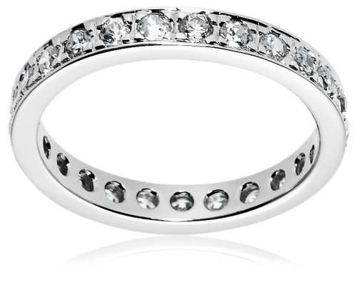 Sterling Silver Cubic Zirconia Eternity Ring, Size 9