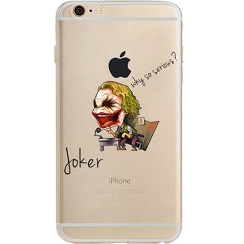 "Batman, Catwoman, Joker, Iron Man, Captain America, Spider Man, The Hulk, Thor Jelly Clear Case for Apple iPhone 6/6s PLUS (5.5"") (Joker)"
