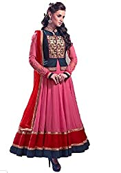 Shree Fashion Women's hasina pink long anarkali gorgette Unstich Dress