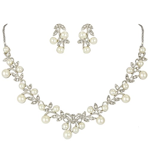 EVER FAITH® Women's Simulated Pearl Vine Leaf Bowknot Necklace Earrings Set Silver-Tone