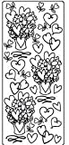 Anita's Outline Stickers HEARTS & FLOWERS Gold peel off stickers OLS 65641