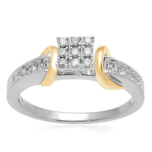 18k Yellow Gold Plated Sterling Silver Diamond Square Head Promise Ring (1/6 cttw, I-J Color, I3 Clarity), Size 8