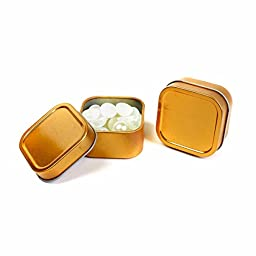 Craft Clouds 4oz Empty Shallow Seamless Square Cube Favor Tins for Crafts and Storage (12, Bronze)