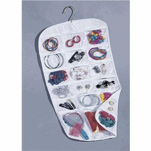 Household Essentials 37-Pocket Hanging Jewelry and Accessories Organizer, White Vinyl