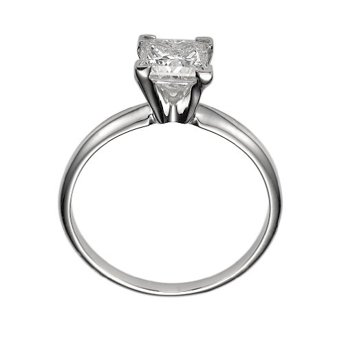 14K Gold / White 0.25ct Certified Diamond Engagement Ring Princess Cut F Color VS Clarity