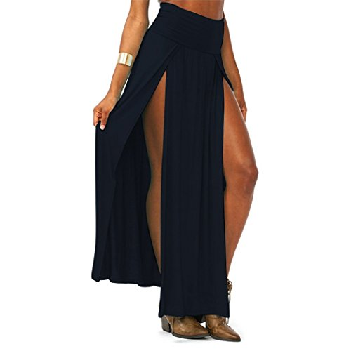 MINDENG Women Trends High Waisted Double Slits Maxi Skirt Side Split Sexy Skirts (Maxi Double Split compare prices)