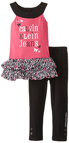 Calvin Klein Little Girls' Ruffled Tunic Leggings,
